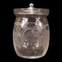 20s Cut Etch Glass Sterling Silver Lid Condiment Honey Pot Mustard Jelly Jam Jar