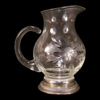 Vintage Crystal Etched Blown Cut Glass Flower Sterling Silver Base Syrup Pitcher