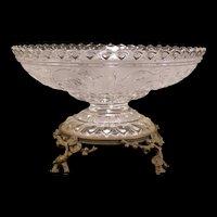 19 c Glass French Crystal Bronze Bride Basket Center Piece Bowl Cherry Blossom