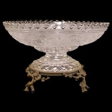 19 c Glass French Crystal Bronze Bride Basket Center Piece Bowl Cherry Blossom