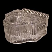 19 c Antique EAPG Glass Piano Pattern Double Ink Well Stand Pen Tray Holder Rest