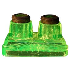 1800's Victorian EAPG Vaseline Glass Pattern Ink Well Stand Pen Tray Holder Rest