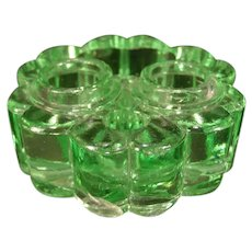 Victorian EAPG Green Glass Clover Pattern Ink Well Stand Pen Tray Holder Rest