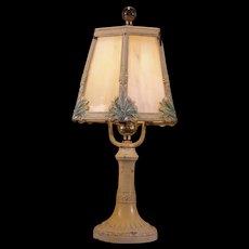 1930's Art Deco Slag Glass Panel Shade Boudoir Lamp Table Light Fixture Tulip