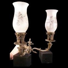 19c Victorian Gothic Serpent Bronze Sconce Wall Gas Cut Shade Lamp Light Fixture