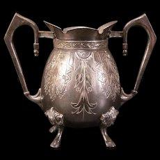 19 c Victorian Diamond Cut Scenic Figure Viking Head Sugar Bowl Candy Dish Vase