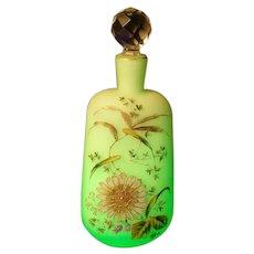 Antique Moser Enamel Hand PAINTED Flower Satin  Glass Perfume Scent Bottle