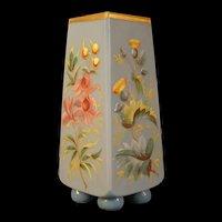 Antique Blue French Opaline Glass Hand PAINTED Moser Enamel Flower Bud Spill Vase