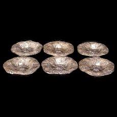 1800's Victorian Silver PAIRPOINT Rose Flower Relief Butter Salt Cellar Dip Pat {Set 6}