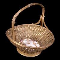 19c French Empire Bronze Fruit Bride Basket Center Bowl Piece Porcelain Flowers