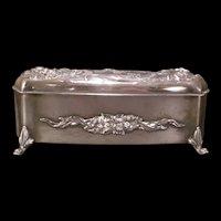 1800's Victorian Silver High Relief Dresser Jewelry Casket Comb Powder Trinket Box Jar