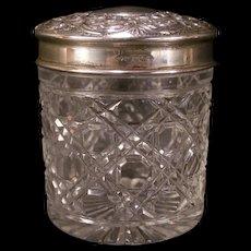 Antique Sterling Top Repousse Silver ROBERT CATTLE Dresser Vanity Jar Cut Glass