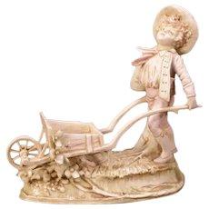 19c Antique Turn Teplitz Austria RStK Porcelain Figure Statue Sculpture Cart Boy
