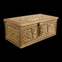 19c Antique Gothic Cherub Bronze Trinket Jewelry Casket Dresser Vanity Ring Box