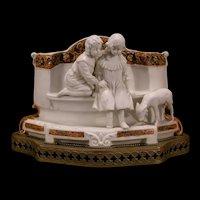 19 c German Bisque Porcelain Lamb Child Figure Statue Sculpture Bronze Vase Bust