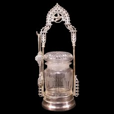 19c Victorian Silver Etch Cut Glass Bird Figure Pickle Castor Jar Holder Cruet
