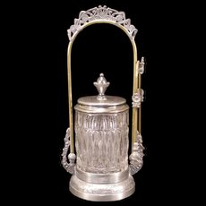 19c Victorian Silver EAPG Glass Flower Filigree Pickle Castor Jar Holder Cruet
