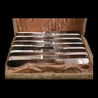 Antique Sterling Silver Collar Band MOP Fruit Knive Cutlery Serving Set Box Case