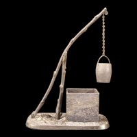 19c Antique Bronze Wishing Well Match Safe Holder Stand Sculpture Desk Tray Pole