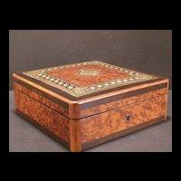 1800's French Napoleon Brass Cartouche Burl Wood Inlay Jewelry Dresser Vanity Box