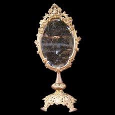 Lg Victorian Ornate Cast Iron Swivel Shaving Stand Dresser Bevel Pedestal Mirror