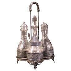 19c Victorian Castor Cruet Cut Etch Flower S&P Oil Bottle Condiment Set Silver Plate