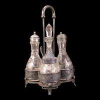 19c Victorian Silver Castor Cruet Cut Etch Flower S&P Oil Bottle Condiment Set