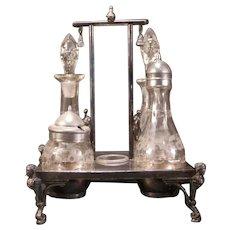 1800's Victorian Silver Castor Cruet COLONIAL Soldier Figure Bottle Condiment Set