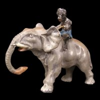 19c Lead Figure Figurine Elephant Black Boy Cold Painted Figure German