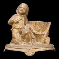 Antique Spelter Match Safe Toothpick Holder Boy Figure Statue Hunter Dispenser