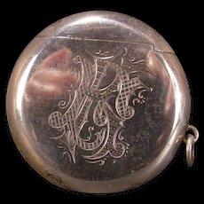 19c Antique Hallmarked Sterling Silver Locket Match Safe Holder Vesta Case Box