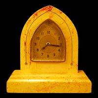 1920's Art Deco Geometric Marble Slate Case Shelf Mantle Wind Up 8 D Clock