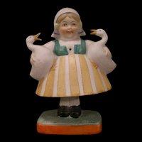 Early 1900's Schafer & Vater German Porcelain Bisque Nodder Figure Goose Dutch Girl Doll