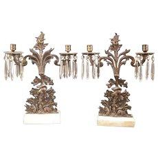1800's Girandole Candelabra Candle Holder Bronze Mantle Prism Squirrel & Nuts Set