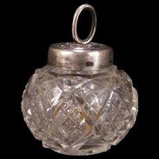 Antique Art Nouveau Sterling Silver Flower ABP Cut Glass Glue Pot Dresser Vanity Jar