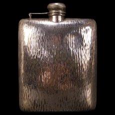Lg Vintage 20's Art Deco Hammered Silver Whisky Flip Top Hip Flask Liquor Bottle