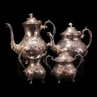 Antique Turton Embossed Chased Silver Rococo Tea Set Coffee Pot Service Pitcher