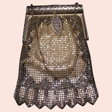 20's Art Deco Flapper Mesh Enamel Coin Purse Evening Bag Mirror Silver Roll Top