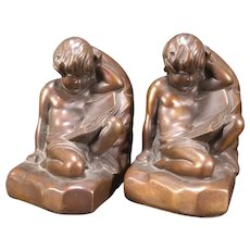 Vintage Bronze Clad Nude Boy Cherub Figure Bookends Statue Sculpture ~La France