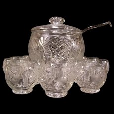 15p Vintage Carved Intaglio Cut Fruit Etch Crystal Glass Punch Bowl Center Piece