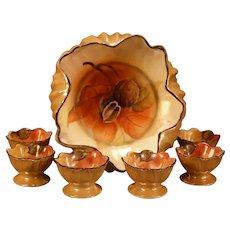 Vintage Noritake Japan Porcelain Nut Dish Set Serving Nippon Hand Painted  Bowl