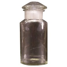 1800's General Store Apothecary Jar Candy Drug BLOWN Glass CUT Pharmacy Medicine