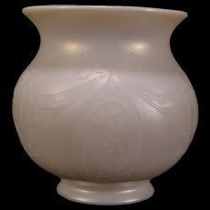1920's Calcite Opal Intaglio Cameo Glass Portrait Lamp Fixture Shade