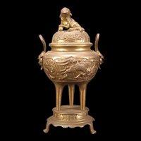 Vintage Bronze Dragon Foo Dog Gargoyle Figure Incense Burner Urn Pot Stand Head