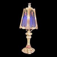 Vintage Shabby Chic Metal Silk Shade Bedroom Boudoir Panel Lamp Light Fixture
