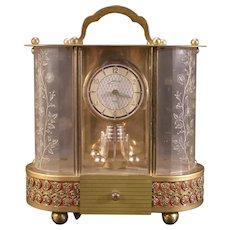 Vintage Schmid Schlenker German Novelty Lucite Anniversary Music Box Clock 8 Day
