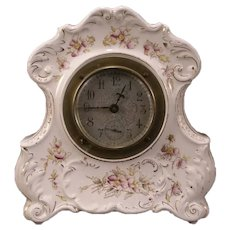 Antique 19c Bevel Glass Shelf Porcelain Transfer Ware Case Alarm Mantle Clock #2