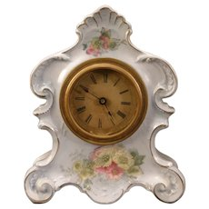 LG Antique 19 c Shelf Porcelain Geranium Flower China Case Alarm Mantle Clock #3