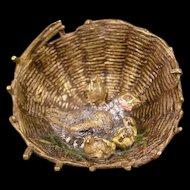 19c Bergman Vienna Austrian Bronze Chicken Hen Basket Figure Paperweight Statue~
