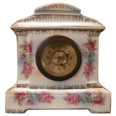 19 c Bevel Glass Shelf German Porcelain ROSE Transfer Ware Case Mantle Clock #12
